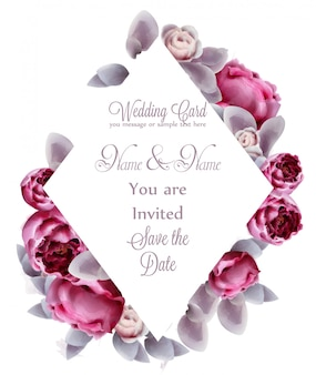Pink peony flowers card watercolor