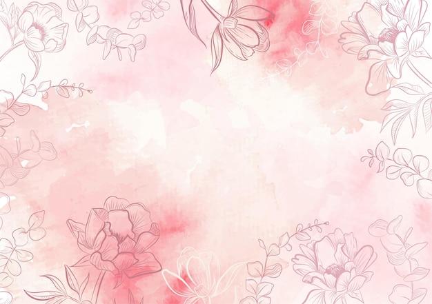 시작 배경 템플릿에 분홍색 모란 꽃 개요