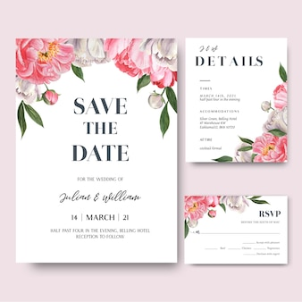 Pink peony  flowers watercolor bouquets invitation card, save the date