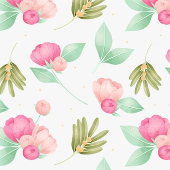 Pink peony flowers watercolour floral pattern