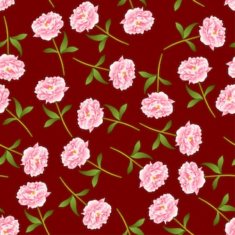 Pink peony seamless on red background.