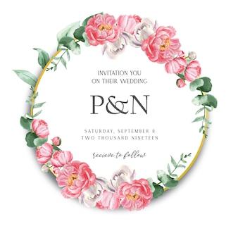 ピンクの牡丹花輪水彩花のテキスト