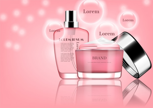 Pink perfume with opened cream and ingredients in bubbles