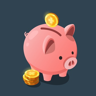 Pink pig in the form of a piggy bank for the game interface.