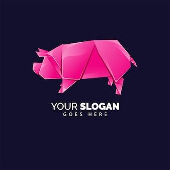 折り紙スタイルのピンクの豚のロゴ