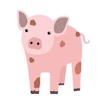 핑크 돼지 또는 흰색 배경에 고립 된 새끼 돼지. 재미있는 만화 헛간 동물, 농장 가축 또는 국내 애완 동물의 초상화. 다채로운 유치한 손으로 그린 벡터 삽화는 현대적인 트렌디한 스타일로 꾸며져 있습니다.