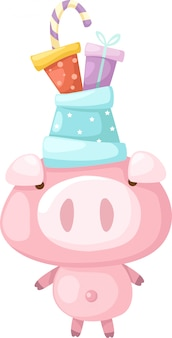Pink pig vector illustration