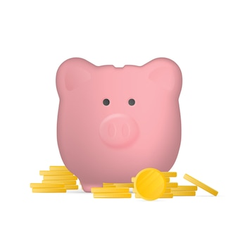 Pink piggy bank in the form of pigs with gold coins.