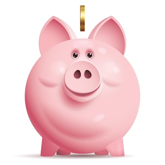 동전과 핑크 돼지 저금통