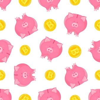 Pink piggy bank with falling gold bitcoins cryptocurrency seamless pattern.