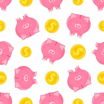 Pink piggy bank with falling gold coins seamless pattern.