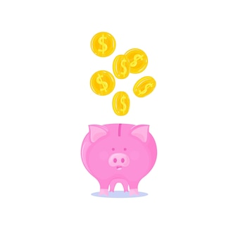 Pink piggy bank with falling gold coins.