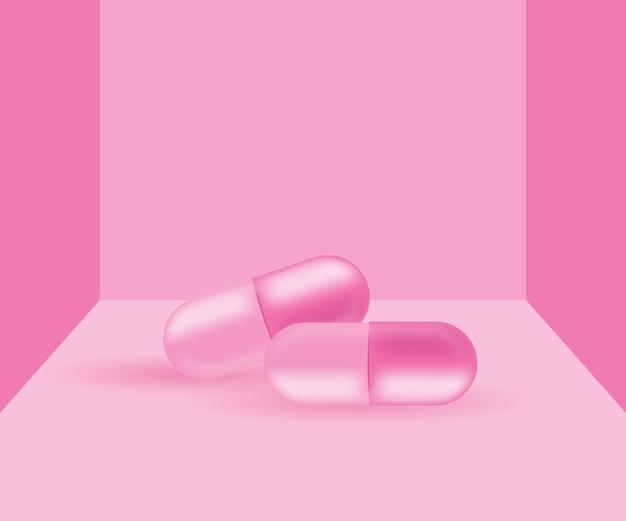파스텔 핑크 배경 벡터에 핑크 알 약 정제