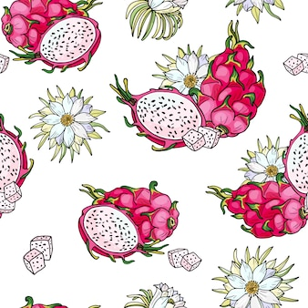 Pink pitaya. seamless pattern. summer tropical food for healthy lifestyle. red dragon whole fruit and half, flower.