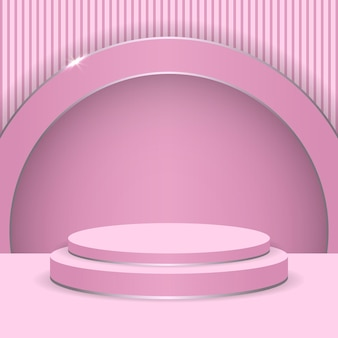 Pink podium abstract round display scene for product