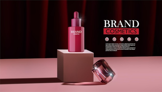 Pink podium stand for display of red cosmetic products and skin creams with red curtain background