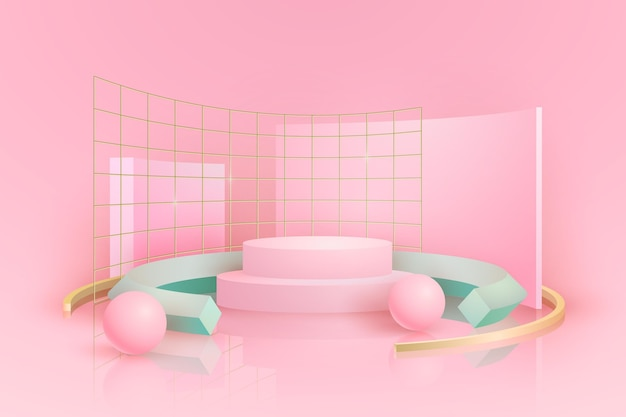 Pink podium with metal grids in 3d effect