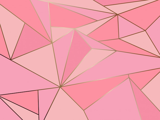 Pink polygon geometric with gold line