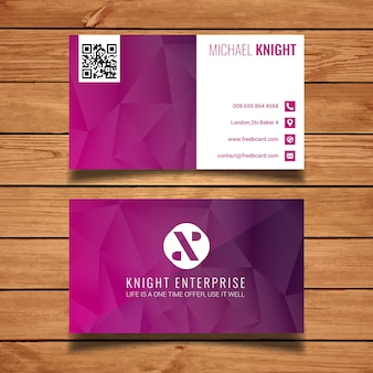 Pink polygonal business card