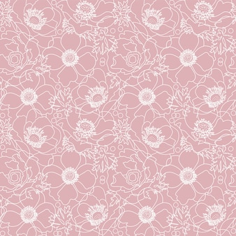 Pink poppy flowers seamless pattern with hand drawn white line floral elements