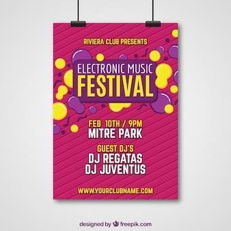 Концепция розового плаката для вечеринки с электронной музыкой