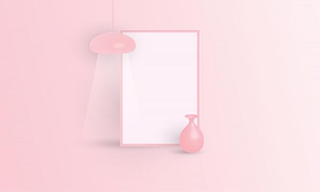 Розовая рамка для плаката с вазой и потолочной лампой, векторный макет