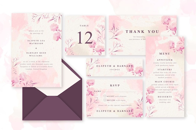 Pink powder pastel wedding stationery Premium Vector