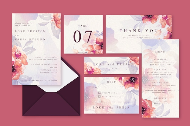 Pink powder pastel wedding stationery