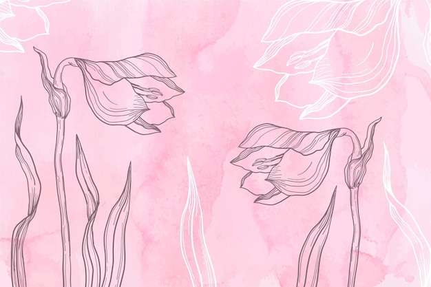 Pink powder pastel with hand drawn flowers background