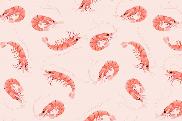 Pink prawn pattern. seamless hand-drawn vector pattern design.