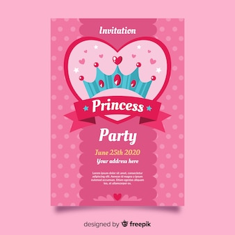 Pink princess party invitation template