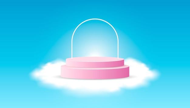 푸른 하늘에 구름과 핑크 제품 연단입니다. 웹 배너, 다이어그램, 인포 그래픽, 책 일러스트레이션, 소셜 미디어 및 기타 그래픽 자산에 적합