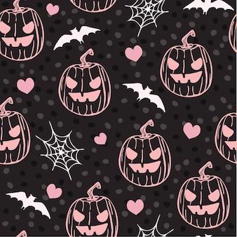 Pink pumpkins. seamless background. happy halloween. vector illustration.