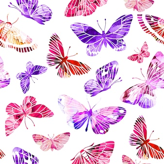 Pink and purple abstract watercolor butterflies