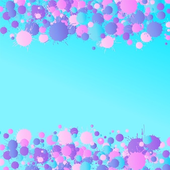 Pink, purple, blue artistic vector watercolor paint drops on the turquoise background. greeting card or invitation template with place for text