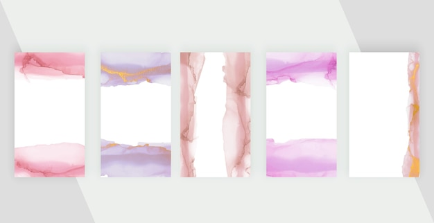 Pink and purple brush stroke watercolor backgrounds for social media stories banners