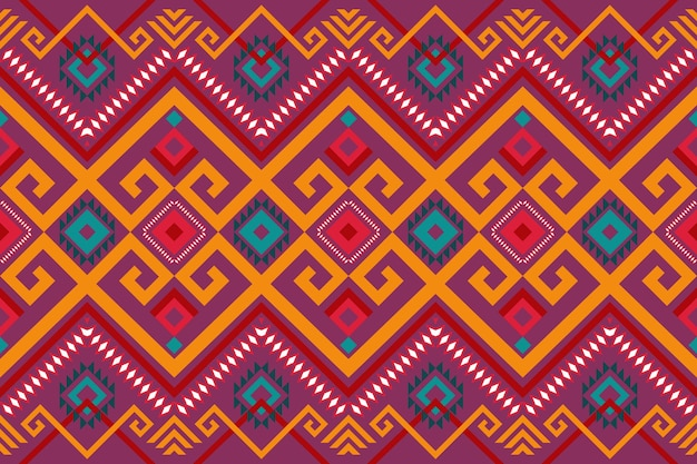 Pink purple colorful geometric oriental ikat seamless pattern traditional ethnic pattern design for background, carpet, wallpaper backdrop, clothing, wrapping, batik, fabric. embroidery style. vector