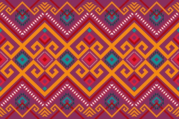 분홍색 보라색 화려한 기하학적 동양 이캇은 배경, 카펫, 벽지 배경, 의류, 포장, 바틱, 직물을 위한 전통적인 민족 패턴 디자인입니다. 자수 스타일. 벡터