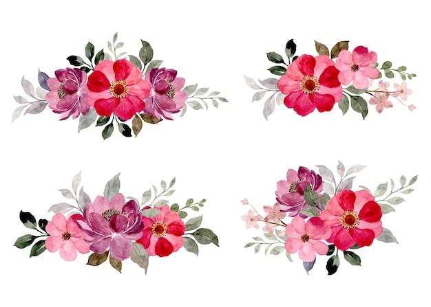 Коллекция розовых фиолетовых цветочных букетов с акварелью