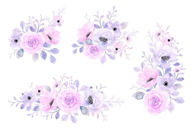 水彩でピンクパープルフローラルブーケコレクション
