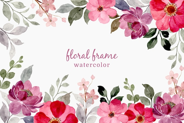 수채화와 분홍색 보라색 꽃 프레임