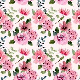 분홍색 보라색 꽃 수채화 원활한 패턴