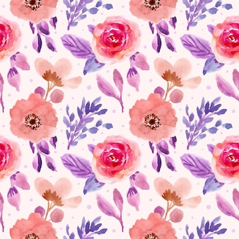 Pink purple floral watercolor seamless pattern