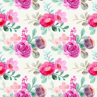 ピンクパープルフローラル水彩シームレスパターン