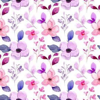 Pink purple floral watercolor seamless pattern