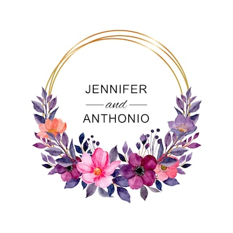 Pink purple floral watercolor wreath with golden circle