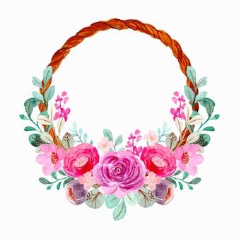 수채화와 분홍색 보라색 꽃 화 환