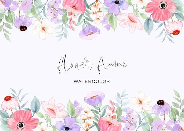 Pink purple flower frame background with watercolor