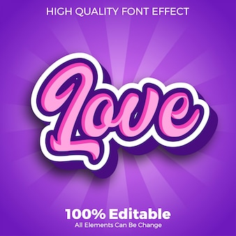 Pink purple love text style editable font effect