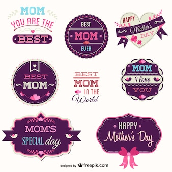 Pink and purple mother's day badges set